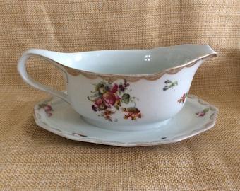Vintage Ludwigsburg porcelain gravy boat dish and plate