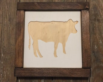 Cow Mini Engraved Wood Sign