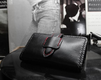 Handmade Leather Rolling Tobacco Case With Black Leather , Rolling Tobacco Pouch , Leather Smoke Case , Leather Tobacco Pouch