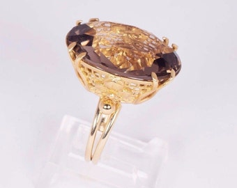 14K Yellow Gold Brown Topaz Ring, size 5.25