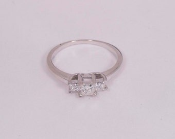 14K White Gold w/Platinum Head, app. .65 ct. Diamond Engagement Ring, size 7.25