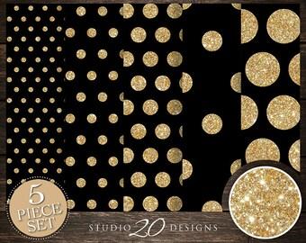 50% OFF! Instant Download Black Gold Digital Paper, 12x12 Printable Black Gold Glitter Digital Paper, Black Polka Dot Background 20DPH