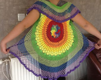Beach Cover Up Swimsuit Cover Up Rainbow Crochet Vest Bikini Cover up Mandala Crochet Cover Up Crochet Fashion Crochet Cover up woman summer