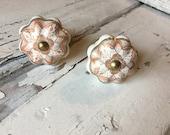 Knobs, Ceramic Pumpkin Shape Knob Peach & White, Dresser Drawer Replacement Pulls, Gold Apron, Decorative Cabinet Pull, Item #517731407
