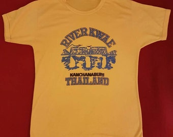 Vintage 80s River Kwae ringer tee Men's Small Thailand Yellow