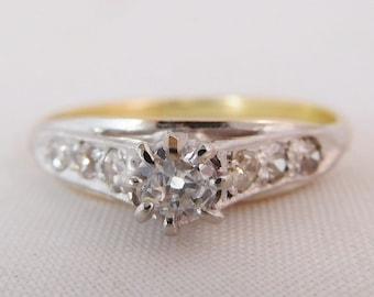 Attractive Antique mine cut Diamond Engagement ring, 18 carat & platinum