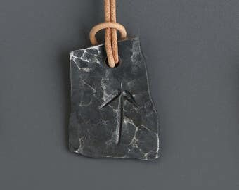 Hand Forged Viking Rune Pendant, Tyr.