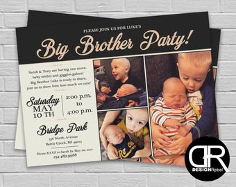 CUSTOMIZABLE 3 Photo Big Brother Party Invitation! Classy, Neutral Tan and Black Color. Celebrate the Big Brother too Digital Download Only.