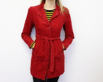 Red Corduroy Coat Womens Corduroy Red Parka Vintage 90s  Red Trench Coat  Red velveteen Coat Hippie Boho Festival Small