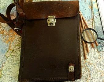 Leather crossbody bag soviet men messenger bag brown comander army brown leather bag Vintage  70s