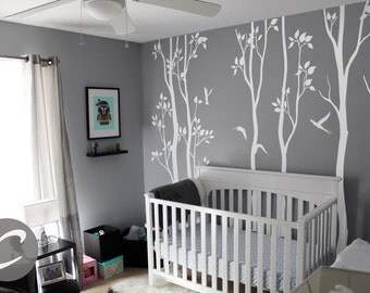 Large Tree Wall Decal Tree wall mural decal Nature Wall Decal White Tree and birds wall decal AM003