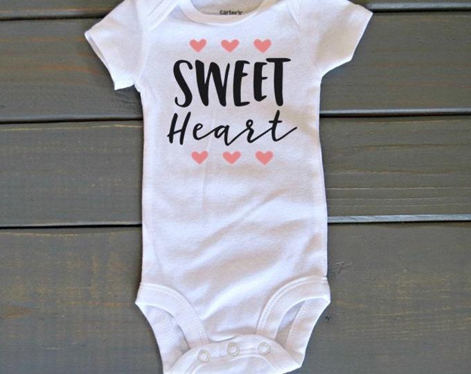 Sweet Heart Bodysuit, Girls' Valentine's Day Shirt, Baby's First Valentine's, Baby Shower Gift