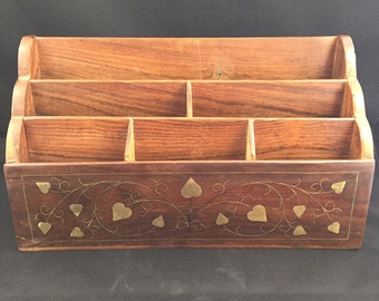 Wooden Desk Organizer Desk Caddy Mail Organizer with Gold Tone Vine Inlay