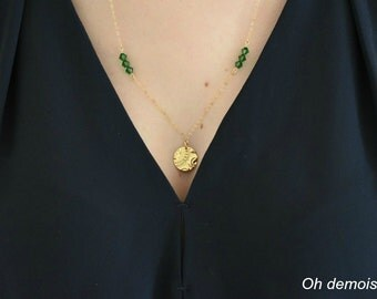 18K Gold-Filled Disk and Green Moss Crystal Bead Necklace / 14 K gold-filled chain