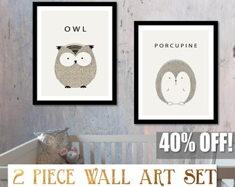 Forest Owl Art, Nursery Forest Art, Woodland Owl Art, Nursery Forest Print, Owl Nursery Decor, Woodland Creature,  Porcupine Print,