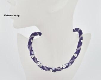 Bead Crochet Rope Pattern - lilac flower field - tutorial