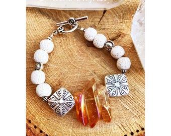 White Lava Sunburst Bracelet