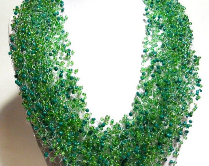 Rainbow green necklace crochet airy multistrand gift for her everyday airy cobweb casual unusual gift for her gift idea party office beaded
