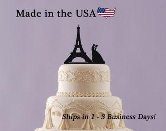 Paris Eiffel Tower Cake Topper, Wedding Cake Topper, Paris Topper, Eiffel Topper, Bride and Groom, Wedding Decor, Paris Theme, LT1076