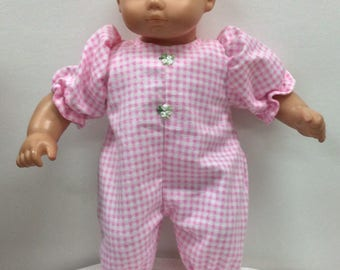 Outfit for American Girl Bitty baby pink gingham flannel sleeper