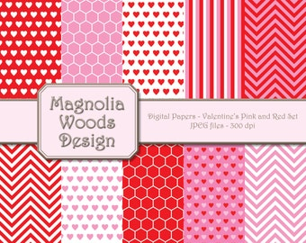 Valentine's Day Paper Pack, Red Pink Paper Pack, Valentine's Day Digital Paper, Red Pink Digital Background, Small Commercial Use Paper Pack