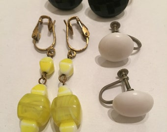 Lot Pairs Vintage Glass Earrings - Clip On - Screw Back - Dangle - Bridal Jewelry
