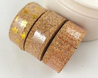 3x1m Cork Washi tape for scrapbooking scrapbook cork tape metallic decorating gifts star strips (metallik/bronze/gold)