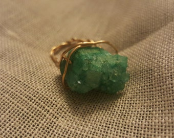 Gold wire raw stone ring size 6