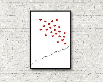 Minimalist Maine Wall Art,  Red, White, Black, Hearts, Love, Maine Art Print, Modern, Wall Decor, Wall Gallery