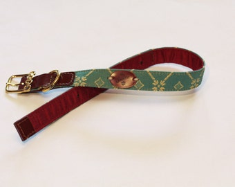 Jacquard fabric dog collar with geometric design, vintage accessories, premium collar, Italian collar, handcrafted collar