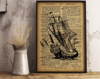 Dutch Ship Poster, Old ship wall art, Vintage style dictionary print, Dutch ship print, Boy's room decor (K27)