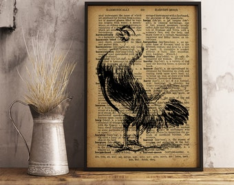 Modern Rustic Farmhouse Decor Rooster print farm decor Cock Poster Wall Art Vintage Style Print Animal Printable For Home A03