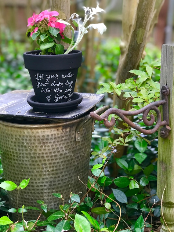 "Chalkboard Painted Handwritten Ceramic Flower Pot/Saucer - ""Let Your Roots Grow Down Deep Into the Soil of God's Love - Ephesians 3:17"""