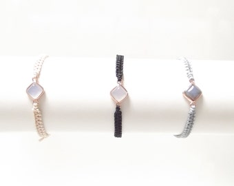 Bracelet with agate - intermediate section; Rosé gold plated version; Macrame filigree playful romantic handmade