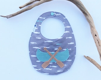 Canoe Appliqué Bib - Baby bib, drool bib, teething bib, toddler bib
