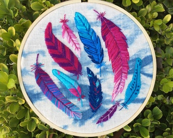 Embroidered Dancing Feathers
