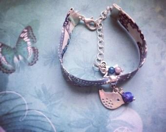 Fabric blue Liberty and bird bracelet