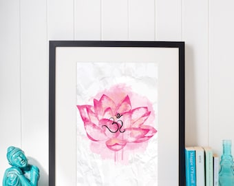 Om Lotus Pink Watercolour Lotus Flower Mantra Print