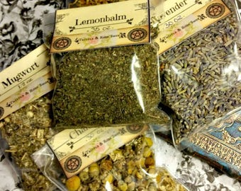 5 pack bundle of herbs ~ a set of our more popular herbs / herbal witches / chamomile, calendula, mugwort, lavender and lemonbalm