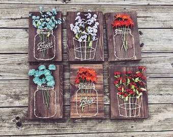 Mason Jar/Basket with Flowers - String Art