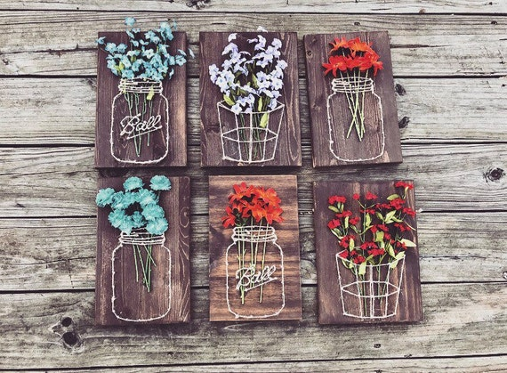 Mason Jar Basket With Flowers String Art