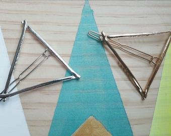 Barrette Triangle & Rond l  Métal argenté ou doré | Livraison gratuite Joli bijou mode nature  | Cadeau mignon pour elle | anniversaire fan