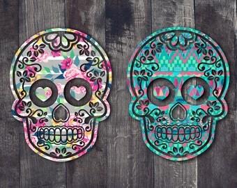 Sugar Skull Decal Sugar Skull Yeti Decal Cup Decal - Sugar skull yeti cup