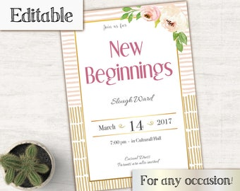 YW Invitation, lds Invitation, Editable PDF, Instant Download, Young Women Invitation, New Beginnings, YW in Excellence