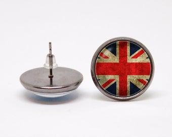 Union Jack earrings British flag earrings Union Jack jewelry Flag earrings British jewellery UK flag earrings London Great Britain England