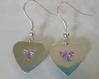 Stamped Jewellery - Hand Made Earrings - Gifts for her - Purple Dragonfly Earrings - Birthday Present - Personal Present - Special Gift