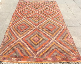 Vinatge handwoven turkish kilim rug, yellow and orange kilim rug - 10 x 5 ft
