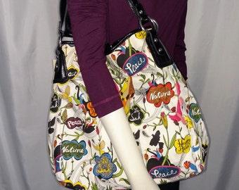 Sak Vintage Shoulder Bag/ Tote Shoulder Bag/Big Purs/Multicolor Summer Bag/90's Shoulder Bag/Bag Under 50.00/Gift for HerNr,275