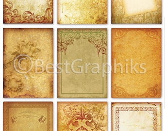 Vintage Paper Sheets Old Papers ACEO Cards ATC Printables Old Paper tags Printable tags Labels Digital Paper ACEO 2.5 X 3.5 Paper Goods