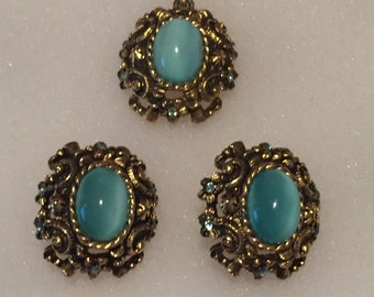 Sarah Coventry Blue Stone Pendant and Clip on Earrings Set Signed Sarah Cov.VINTAGE UNIQUE RARE.Free Shipping